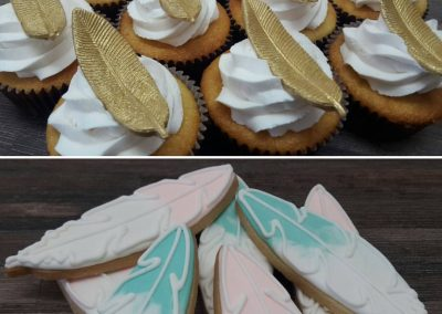 Feather Cookies & Cupcakes