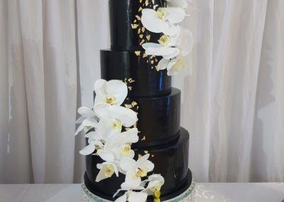 Black & Gold with Orchids