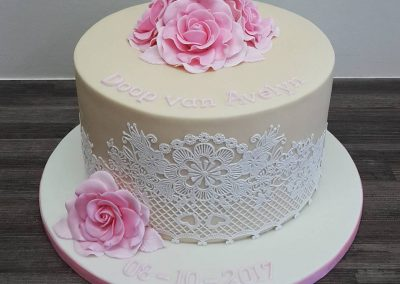 Lace & Roses Christening Cake