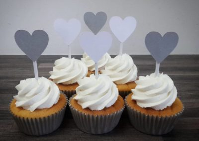 White & Grey Hearts Cupcakes