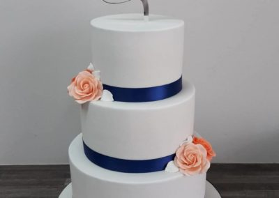 Navy & Coral  21st Cake