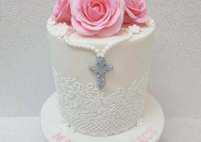 Lace & Roses Christening Cake