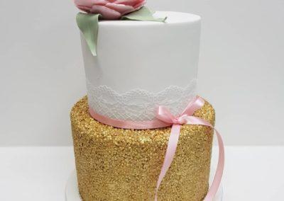 Gold & Pink Elegant Cake